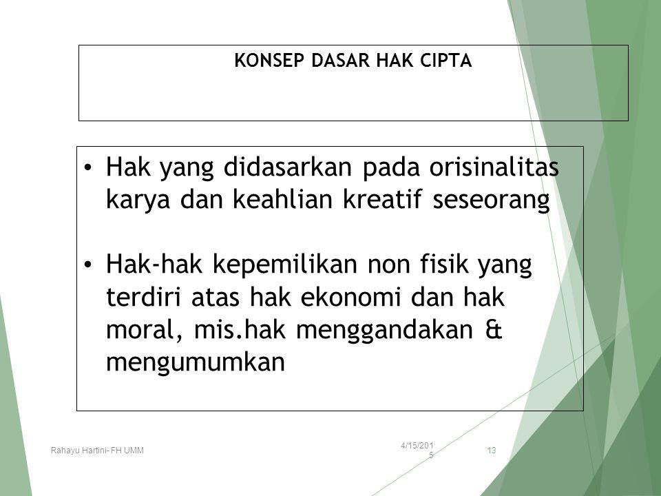 KONSEP DASAR HAK CIPTA Hak yang didasarkan pada orisinalitas karya dan keahlian kreatif seseorang Hak-hak kepemilikan non fisik yang terdiri atas hak