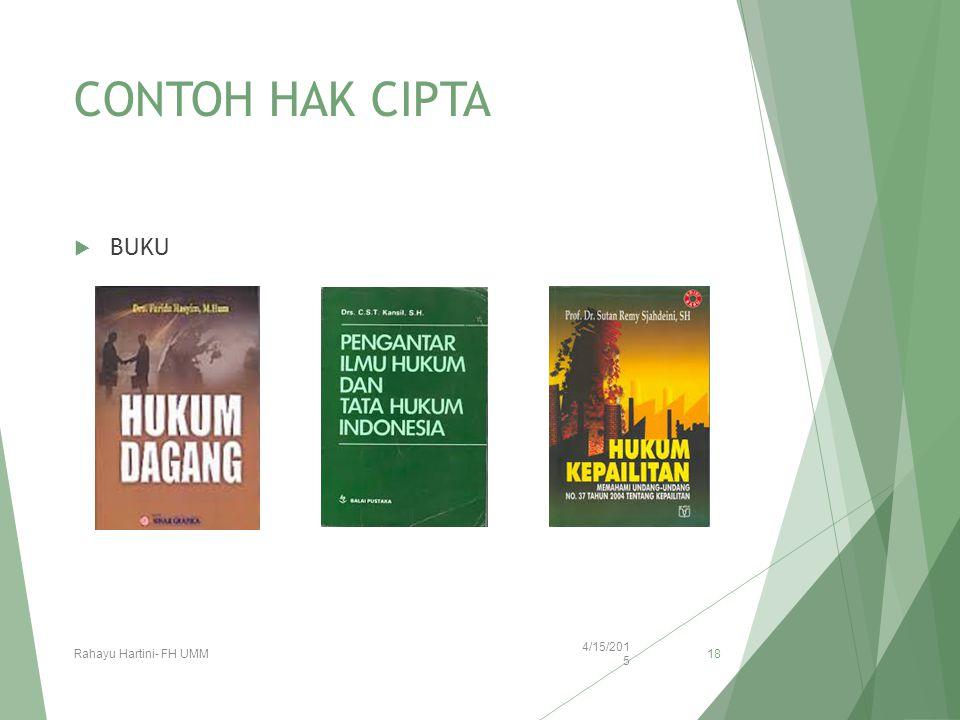 CONTOH HAK CIPTA  BUKU 4/15/2015 Rahayu Hartini- FH UMM 18