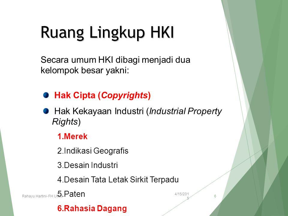 Ruang Lingkup HKI Secara umum HKI dibagi menjadi dua kelompok besar yakni: Hak Cipta (Copyrights) Hak Kekayaan Industri (Industrial Property Rights) 1