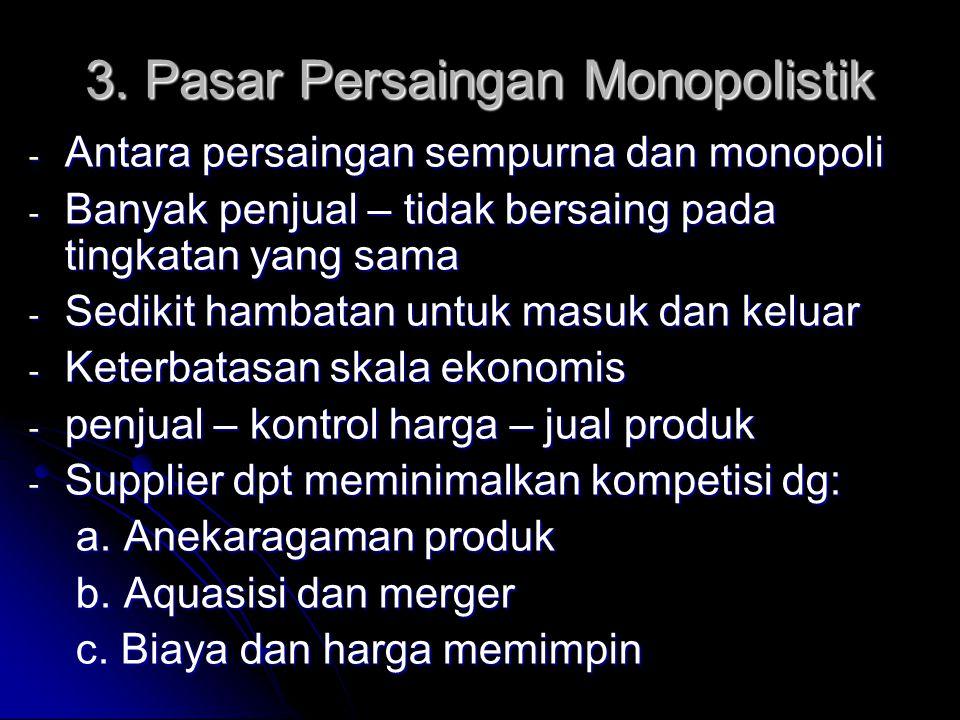 3. Pasar Persaingan Monopolistik - Antara persaingan sempurna dan monopoli - Banyak penjual – tidak bersaing pada tingkatan yang sama - Sedikit hambat