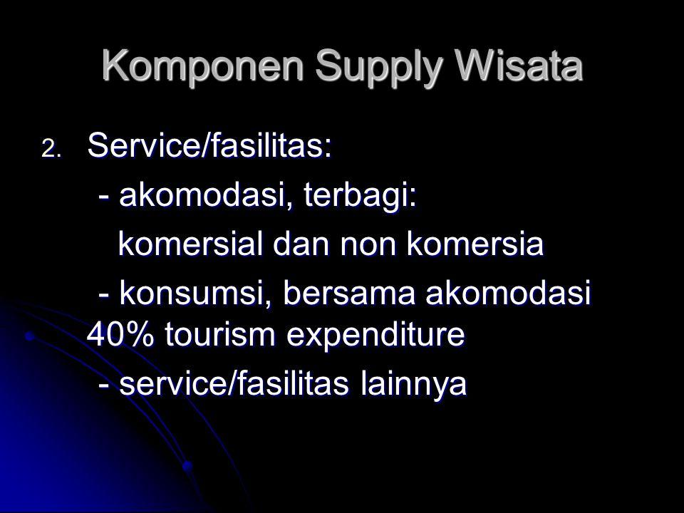 Komponen Supply Wisata 2. Service/fasilitas: - akomodasi, terbagi: - akomodasi, terbagi: komersial dan non komersia komersial dan non komersia - konsu