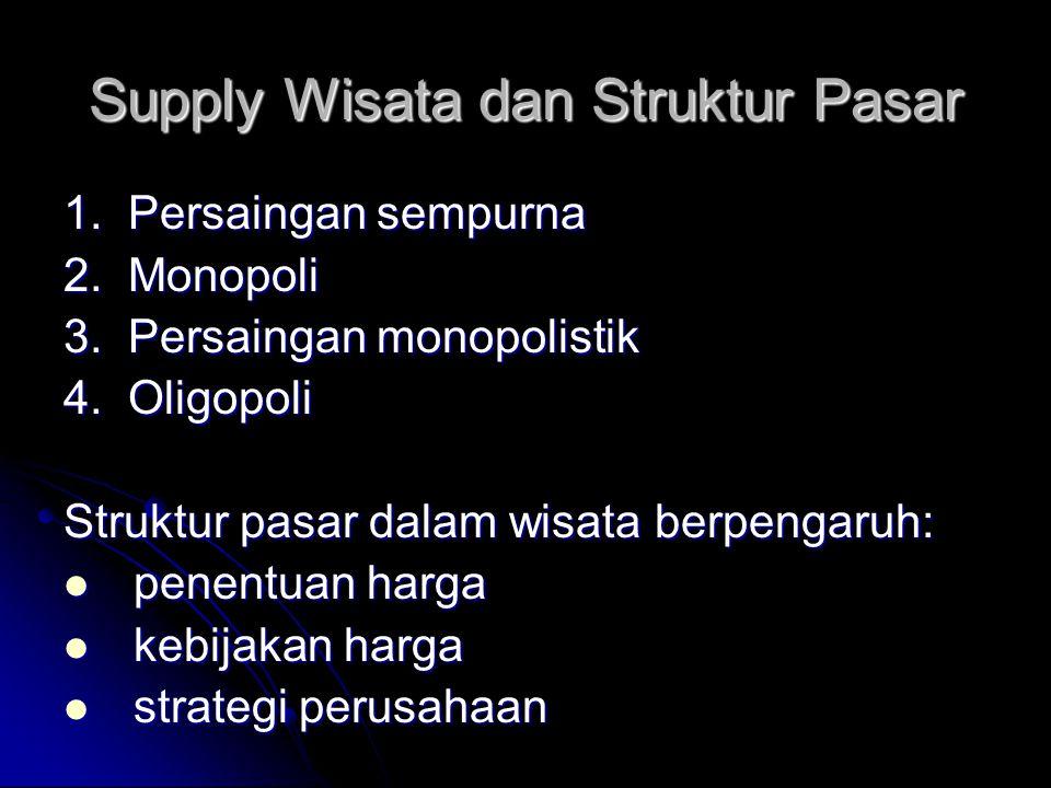 Supply Wisata dan Struktur Pasar 1. Persaingan sempurna 2. Monopoli 3. Persaingan monopolistik 4. Oligopoli Struktur pasar dalam wisata berpengaruh: p