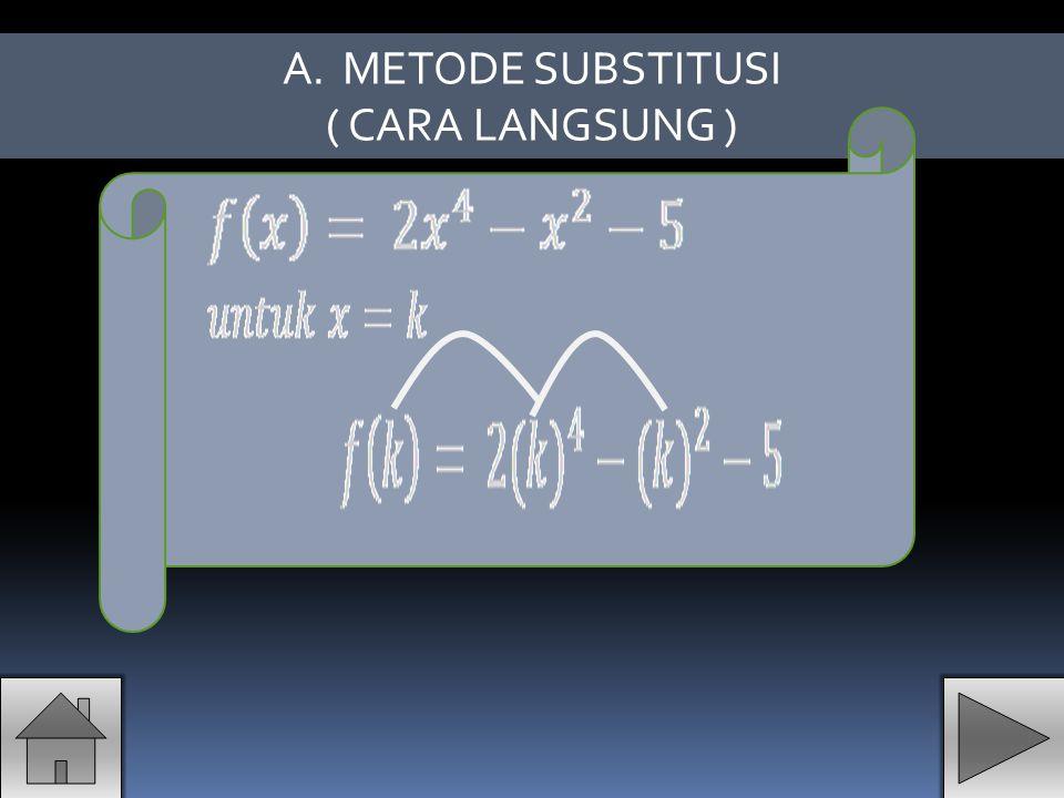 A.METODE SUBSTITUSI ( CARA LANGSUNG )