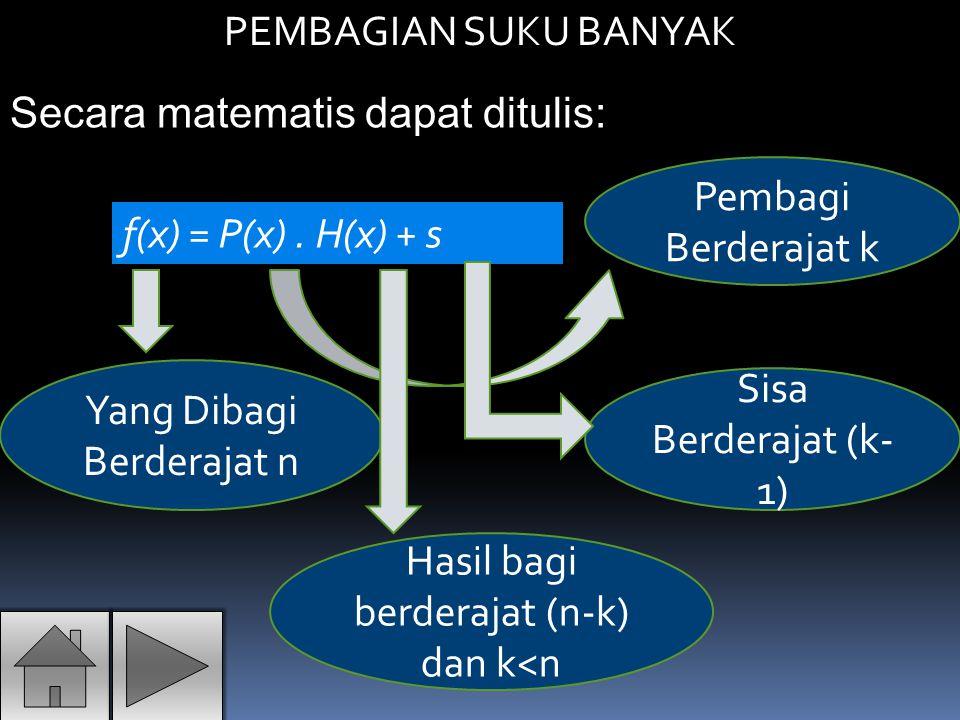 Secara matematis dapat ditulis: PEMBAGIAN SUKU BANYAK f(x) = P(x). H(x) + s Yang Dibagi Berderajat n Pembagi Berderajat k Hasil bagi berderajat (n-k)