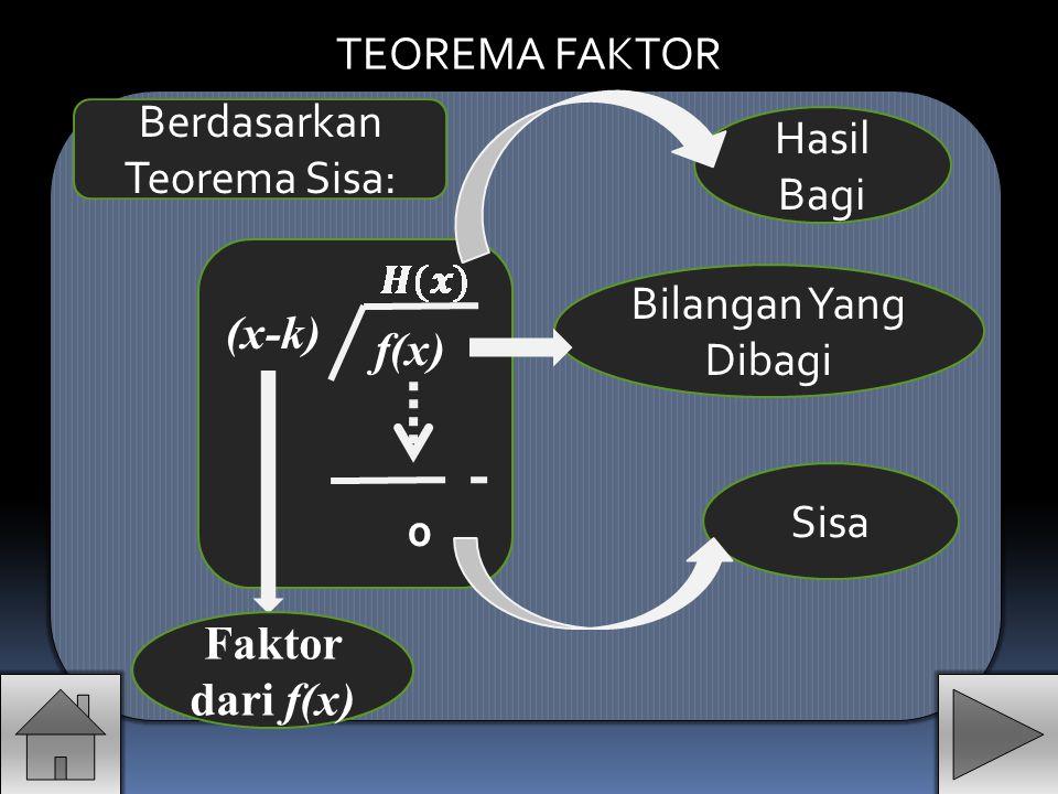 (x-k) f(x) H(x) f(x)= (x-k). H(x)+f(k) Berdasarkan teorema sisa Sisa Diperoleh