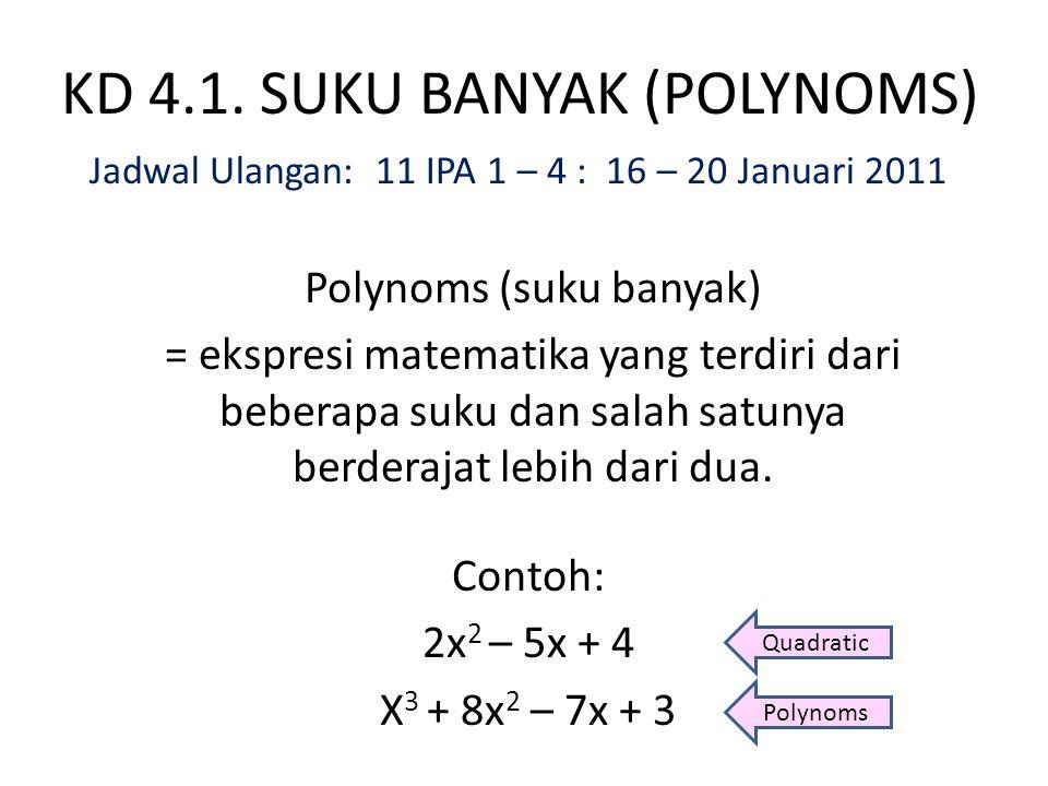 Contoh: Tentukan hasil bagi dan sisa jika f(x) = 2x 3 – 7x 2 – 5x + 90 dibagi oleh (x + 3) x + 32x 3 – 7x 2 – 5x + 90 2x 2 34x + 90 2x 3 + 6x 2 –13x 2 – 5x + 90 – 13x –13x 2 – 39x + 34 34x + 102 –12 Jadi, 2x 3 – 7x 2 – 5x + 90 = (x + 3) (2x 2 – 13x + 34) – 12 Hasil bagi: 2x 2 – 13x + 34 dan Sisa: –12 f(x) = g(x).