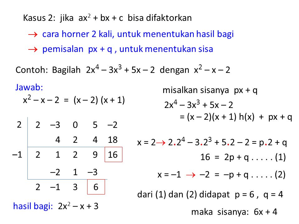 Contoh: Bagilah 2x 4 – 3x 3 + 5x – 2 dengan x 2 – x – 2 Jawab: x 2 – x – 2 = (x – 2) (x + 1) hasil bagi: 2x 2 – x + 3 Kasus 2: jika ax 2 + bx + c bisa difaktorkan  cara horner 2 kali, untuk menentukan hasil bagi  pemisalan px + q, untuk menentukan sisa –1 misalkan sisanya px + q 05–2–32 2 2 4 1 2 2 4 9 18 16 –2 2–1 1 3 –3 6 2x 4 – 3x 3 + 5x – 2 = (x – 2)(x + 1) h(x) + px + q x = 2  2.