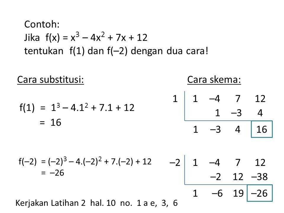 1.Jika f(x) = x 3 – 5x 2 – 26x + 10 maka f(–3) = .