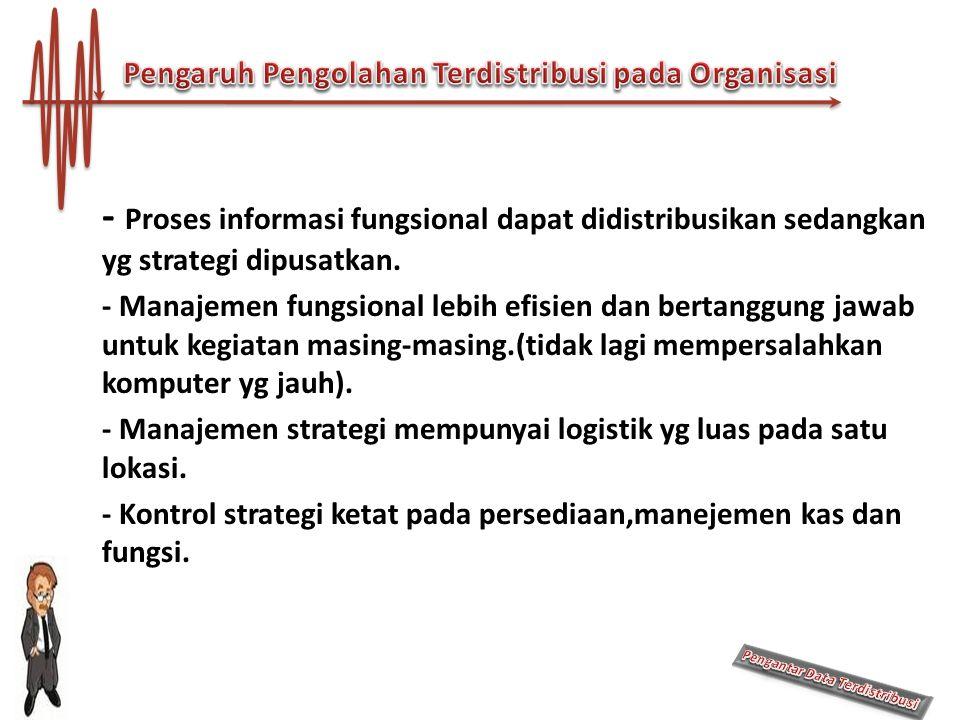 - Proses informasi fungsional dapat didistribusikan sedangkan yg strategi dipusatkan. - Manajemen fungsional lebih efisien dan bertanggung jawab untuk