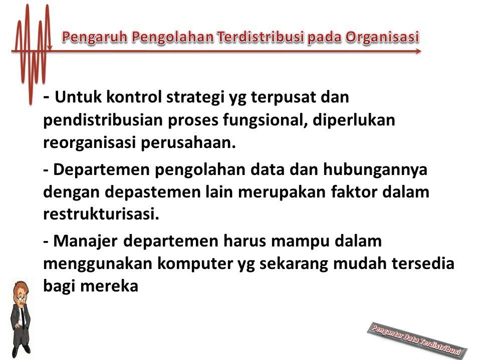 - Untuk kontrol strategi yg terpusat dan pendistribusian proses fungsional, diperlukan reorganisasi perusahaan. - Departemen pengolahan data dan hubun