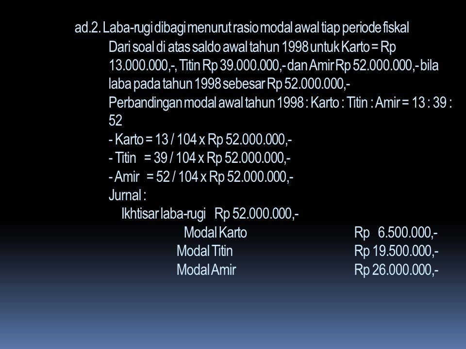 ad.1. Laba-rugi dibagi menurut rasio modal awal pendirian Firma KOTA didirikan pada tanggal 2 Januari 1997, dengan masing- masing modal sekutu Karto R
