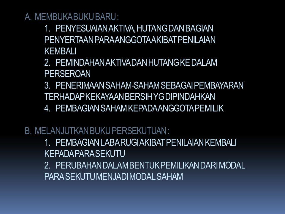 Ad.4. PERUBAHAN BENTUK PERSEKUTUAN MENJADI PERSEROAN. BILA PERSEKUTUAN BERUBAH MENJADI PERSEROAN MAKA : 1. REKENING MODAL BERUBAH DARI REKENING MODAL