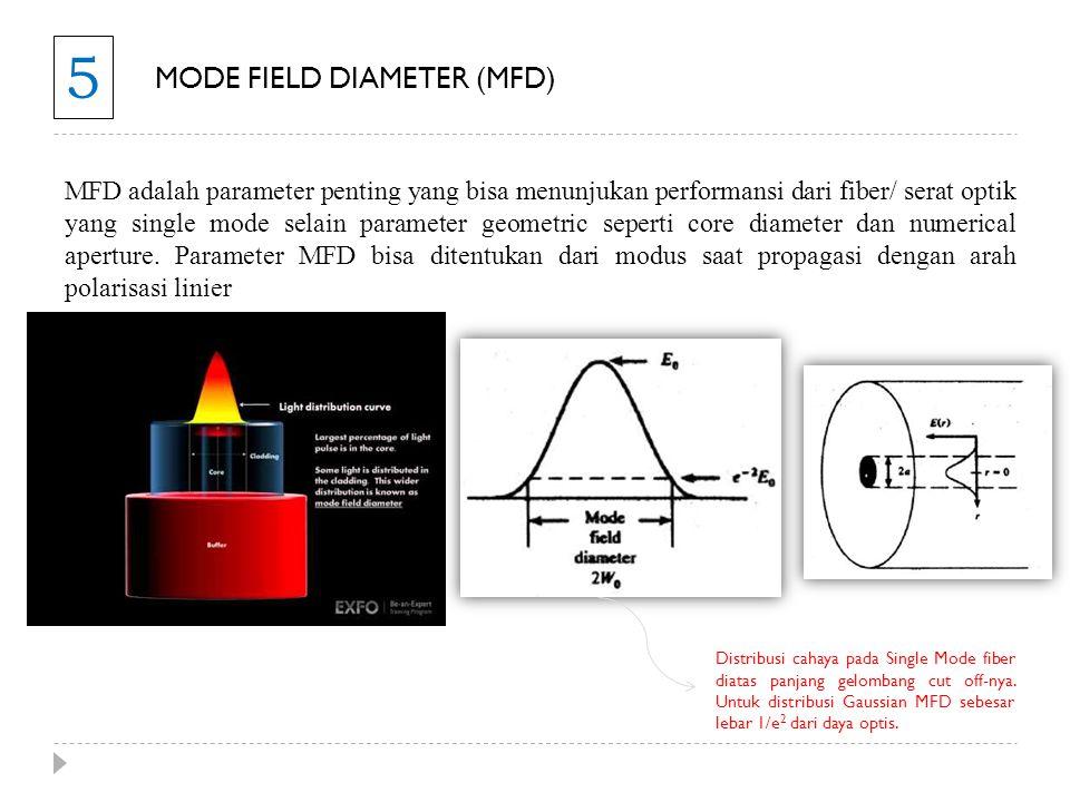 5 MODE FIELD DIAMETER (MFD) MFD adalah parameter penting yang bisa menunjukan performansi dari fiber/ serat optik yang single mode selain parameter ge