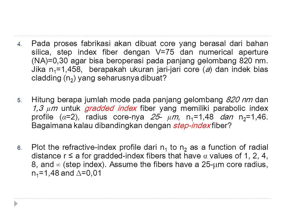 4. Pada proses fabrikasi akan dibuat core yang berasal dari bahan silica, step index fiber dengan V=75 dan numerical aperture (NA)=0,30 agar bisa bero