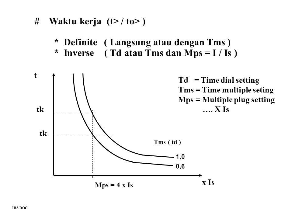 # Waktu kerja (t> / to> ) * Definite ( Langsung atau dengan Tms ) * Inverse ( Td atau Tms dan Mps = I / Is ) Tms ( td ) x Is Mps = 4 x Is t tk Td = Ti