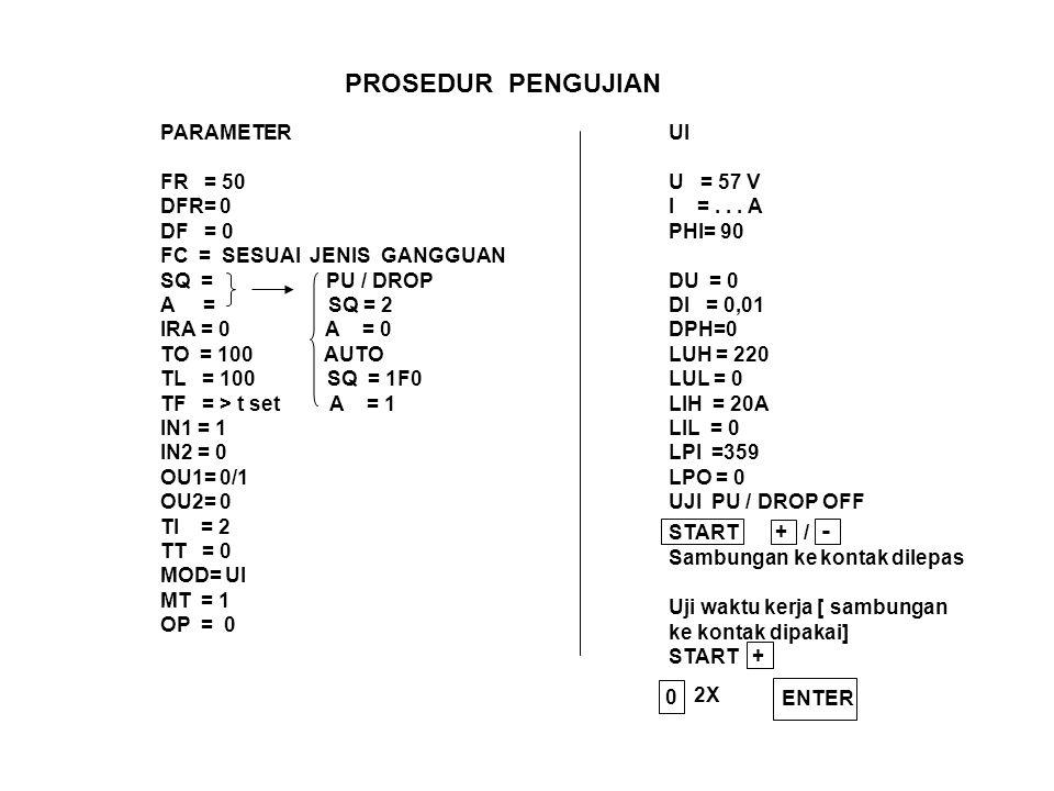 PROSEDUR PENGUJIAN PARAMETER FR = 50 DFR= 0 DF = 0 FC = SESUAI JENIS GANGGUAN SQ = PU / DROP A = SQ = 2 IRA = 0 A = 0 TO = 100 AUTO TL = 100 SQ = 1F0