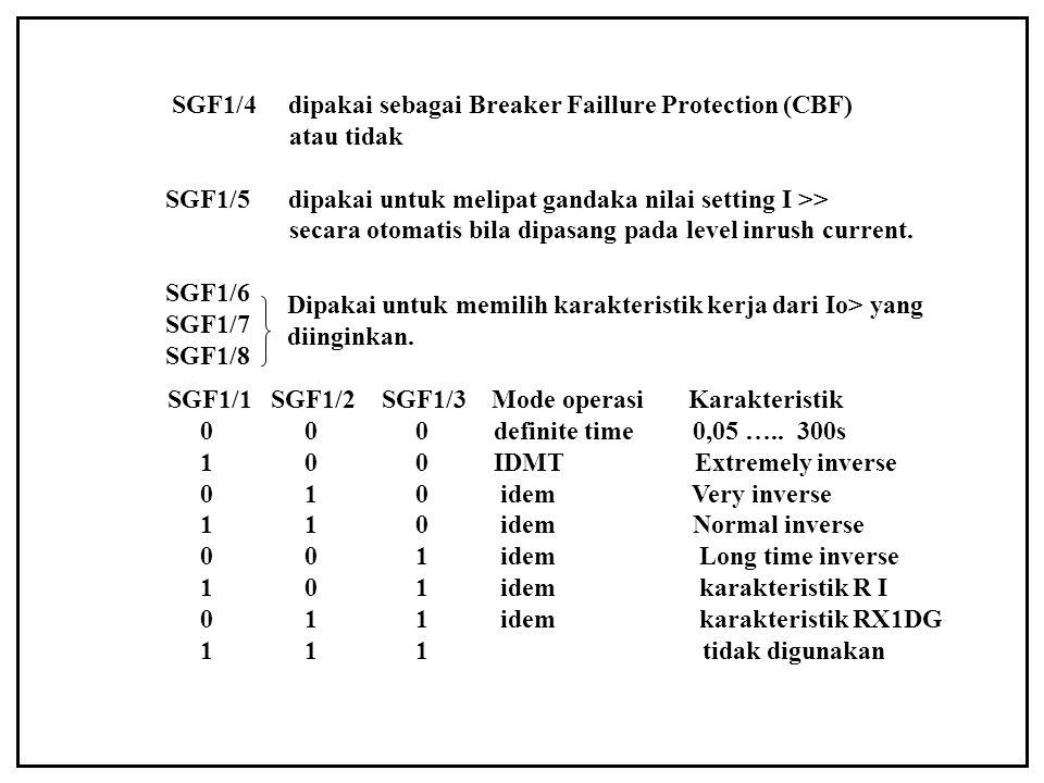 SGF1/4 dipakai sebagai Breaker Faillure Protection (CBF) atau tidak SGF1/5 dipakai untuk melipat gandaka nilai setting I >> secara otomatis bila dipas