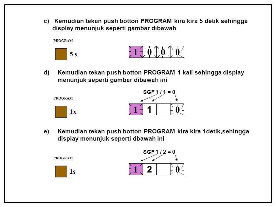 c) Kemudian tekan push botton PROGRAM kira kira 5 detik sehingga display menunjuk seperti gambar dibawah d)Kemudian tekan push botton PROGRAM 1 kali s