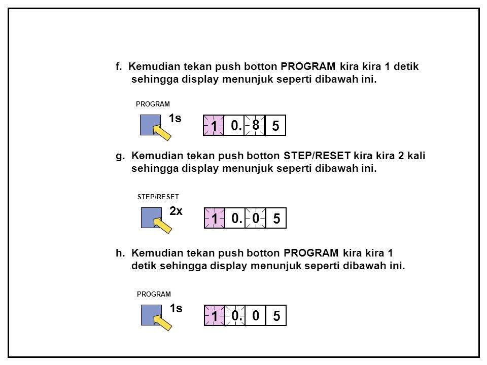 f. Kemudian tekan push botton PROGRAM kira kira 1 detik sehingga display menunjuk seperti dibawah ini. PROGRAM 1s 0. 8 1 5 g. Kemudian tekan push bott