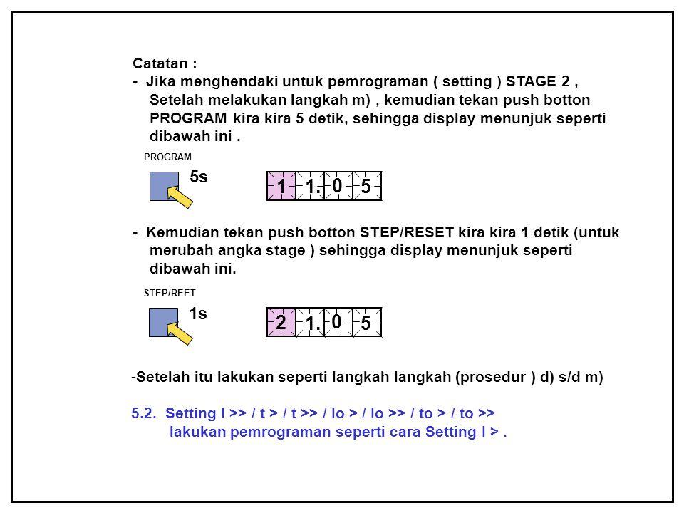 Catatan : - Jika menghendaki untuk pemrograman ( setting ) STAGE 2, Setelah melakukan langkah m), kemudian tekan push botton PROGRAM kira kira 5 detik
