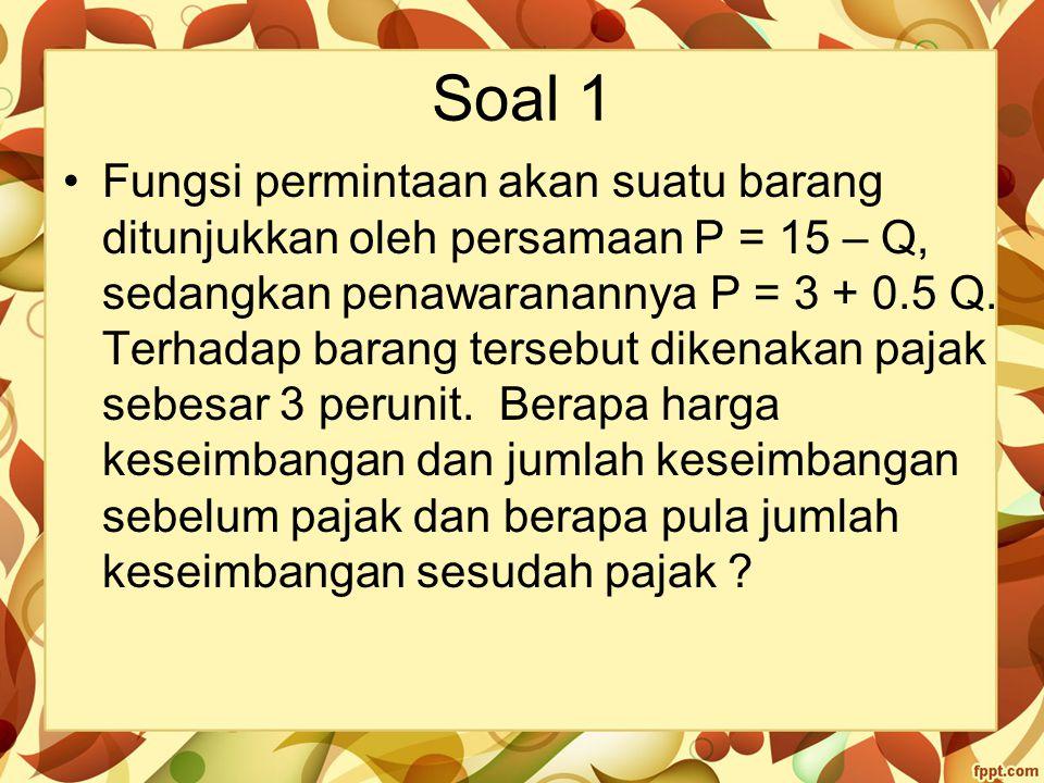 Soal 1 Fungsi permintaan akan suatu barang ditunjukkan oleh persamaan P = 15 – Q, sedangkan penawaranannya P = 3 + 0.5 Q. Terhadap barang tersebut dik