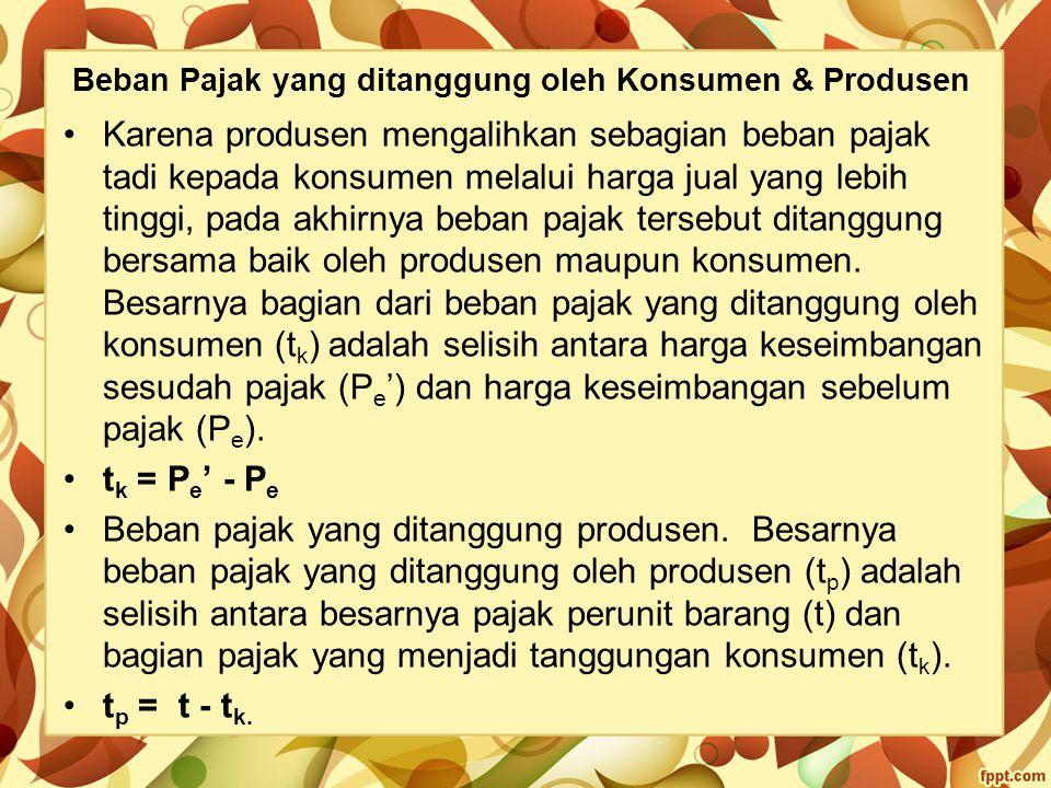 Beban Pajak yang ditanggung oleh Konsumen & Produsen Karena produsen mengalihkan sebagian beban pajak tadi kepada konsumen melalui harga jual yang leb