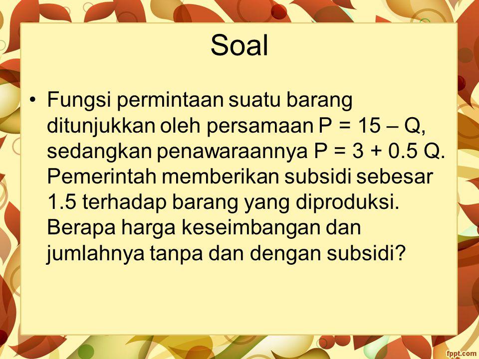 Soal Fungsi permintaan suatu barang ditunjukkan oleh persamaan P = 15 – Q, sedangkan penawaraannya P = 3 + 0.5 Q. Pemerintah memberikan subsidi sebesa