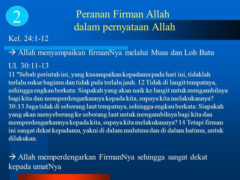 Peranan Firman Allah dalam pernyataan Allah 2 Kel. 24:1-12  Allah menyampaikan firmanNya melalui Musa dan Loh Batu Ul. 30:11-13 11