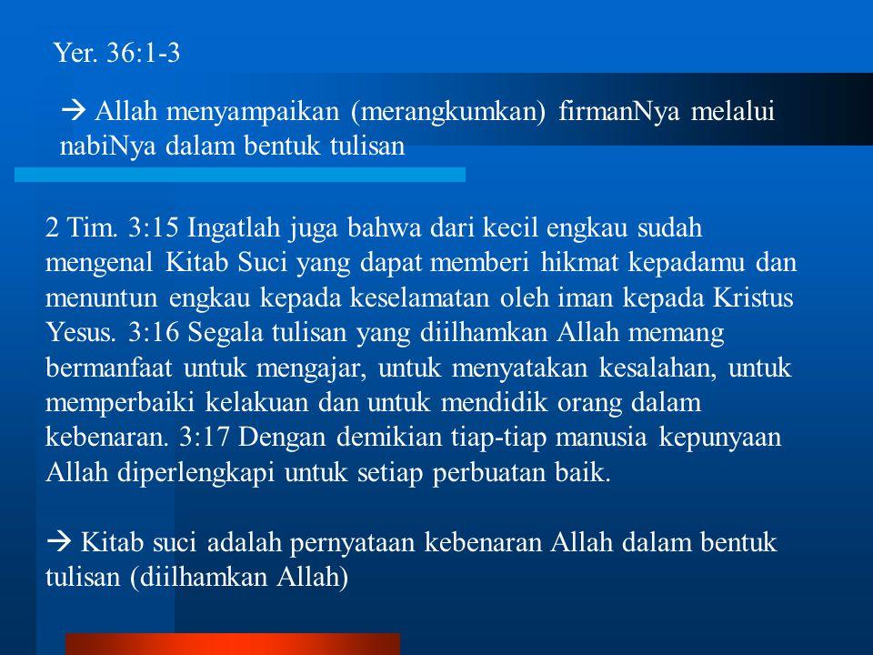 Yer. 36:1-3  Allah menyampaikan (merangkumkan) firmanNya melalui nabiNya dalam bentuk tulisan 2 Tim. 3:15 Ingatlah juga bahwa dari kecil engkau sudah
