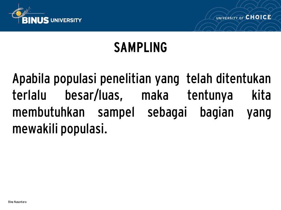 Bina Nusantara DESAIN PENELITIAN Yaitu suatu model penelitian yang akan kita lakukan sesuai dengan rumusan masalahnya.