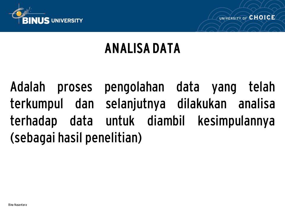 Bina Nusantara INSTRUMEN PENELITIAN A dalah alat yang dibutuhkan untuk pengambilan data dalam penelitian.
