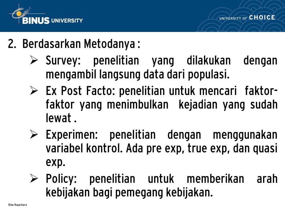 Bina Nusantara JENIS PENELITIAN 1.