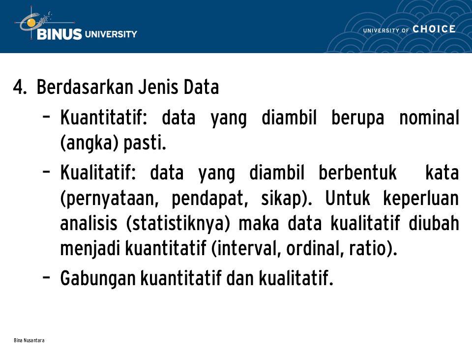 Bina Nusantara SAMPLING Apabila populasi penelitian yang telah ditentukan terlalu besar/luas, maka tentunya kita membutuhkan sampel sebagai bagian yang mewakili populasi.