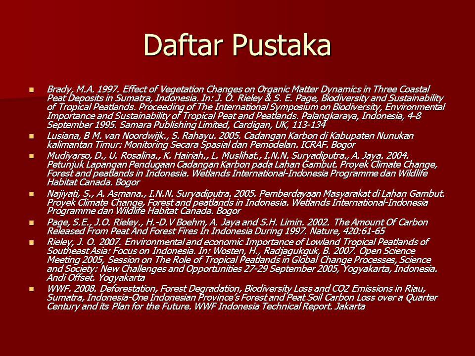 Daftar Pustaka Brady, M.A. 1997. Effect of Vegetation Changes on Organic Matter Dynamics in Three Coastal Peat Deposits in Sumatra, Indonesia. In: J.