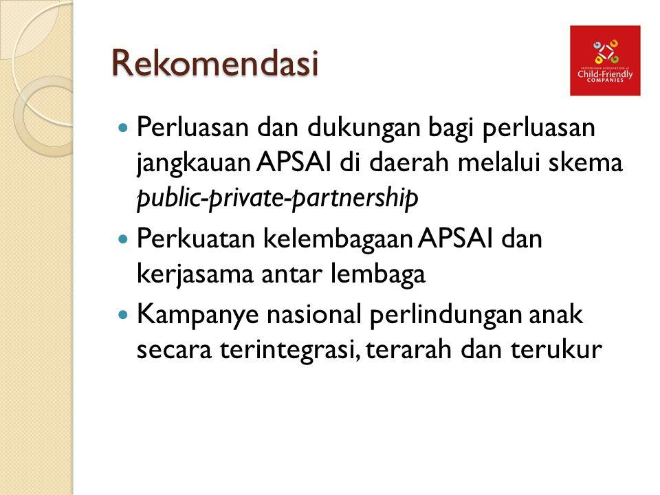 Rekomendasi Perluasan dan dukungan bagi perluasan jangkauan APSAI di daerah melalui skema public-private-partnership Perkuatan kelembagaan APSAI dan k
