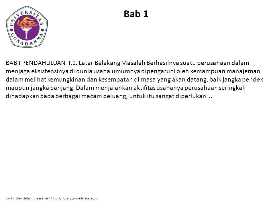 Bab 1 BAB I PENDAHULUAN I.1.