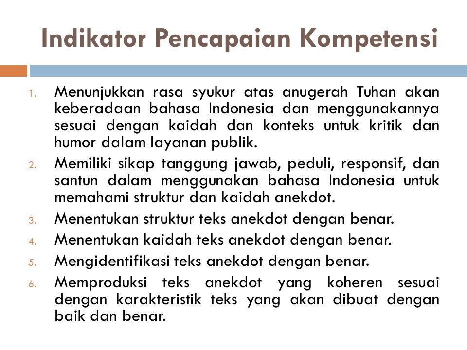 Indikator Pencapaian Kompetensi 1. Menunjukkan rasa syukur atas anugerah Tuhan akan keberadaan bahasa Indonesia dan menggunakannya sesuai dengan kaida