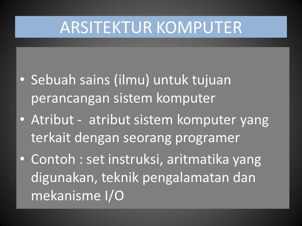 ARSITEKTUR KOMPUTER Sebuah sains (ilmu) untuk tujuan perancangan sistem komputer Atribut - atribut sistem komputer yang terkait dengan seorang program