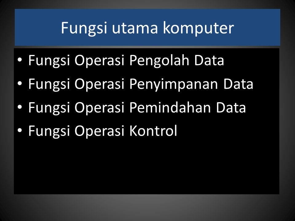 Fungsi utama komputer Fungsi Operasi Pengolah Data Fungsi Operasi Penyimpanan Data Fungsi Operasi Pemindahan Data Fungsi Operasi Kontrol