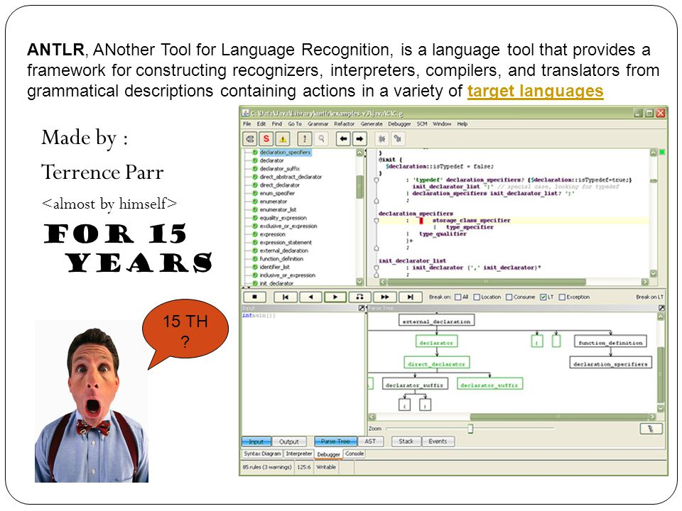 Made by : Terrence Parr For 15 Years ANTLR, ANother Tool for Language Recognition, is a language tool that provides a framework for constructing recog