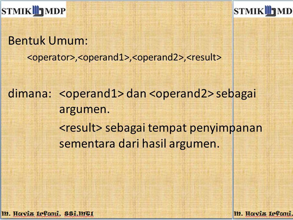 Bentuk Umum:,,, dimana: dan sebagai argumen. sebagai tempat penyimpanan sementara dari hasil argumen.
