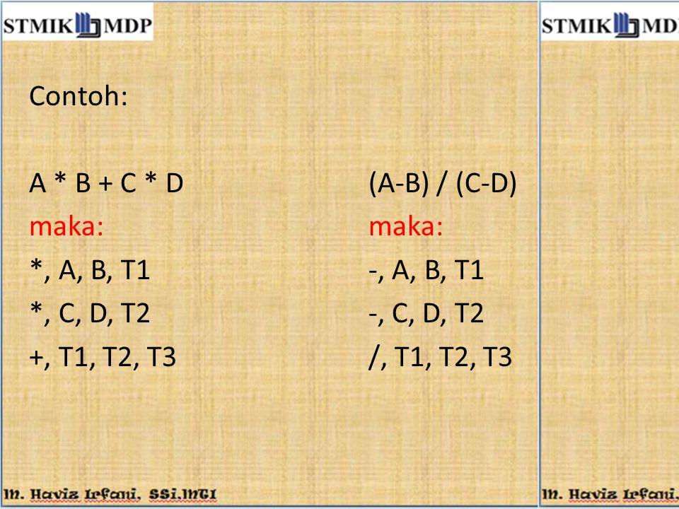 Contoh: A * B + C * D(A-B) / (C-D)maka: *, A, B, T1-, A, B, T1 *, C, D, T2-, C, D, T2 +, T1, T2, T3/, T1, T2, T3