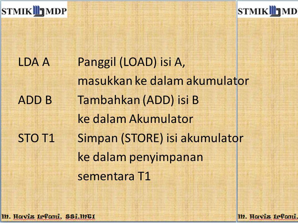 LDA APanggil (LOAD) isi A, masukkan ke dalam akumulator ADD BTambahkan (ADD) isi B ke dalam Akumulator STO T1Simpan (STORE) isi akumulator ke dalam pe