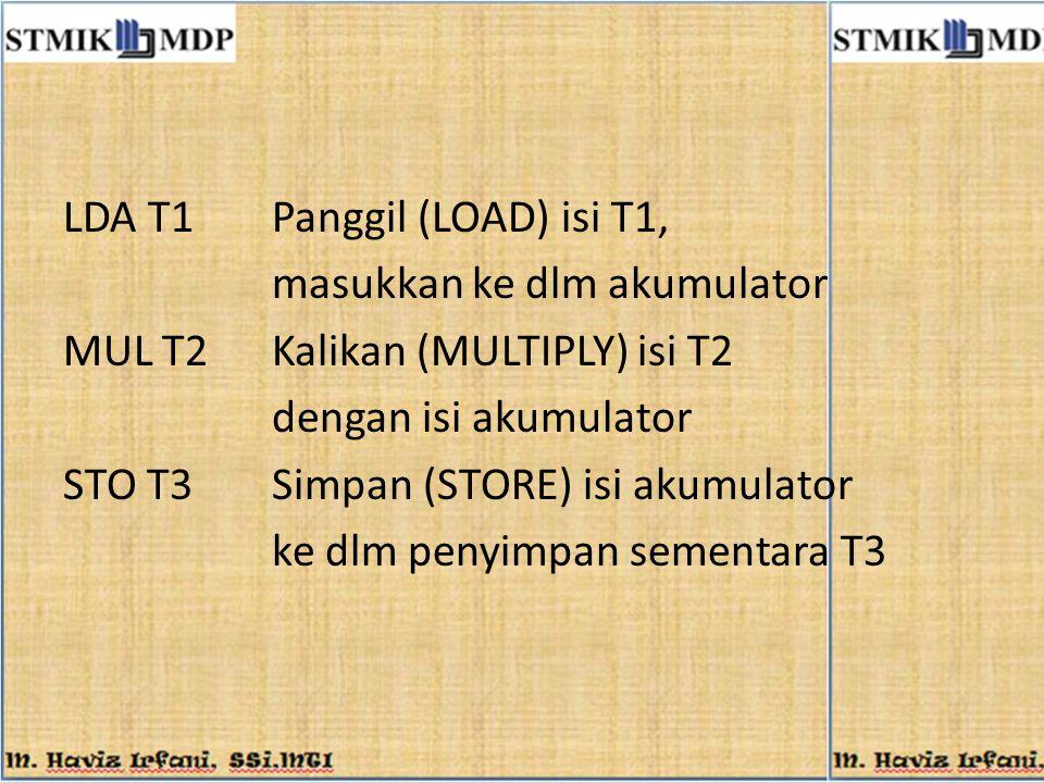 LDA T1Panggil (LOAD) isi T1, masukkan ke dlm akumulator MUL T2Kalikan (MULTIPLY) isi T2 dengan isi akumulator STO T3Simpan (STORE) isi akumulator ke d