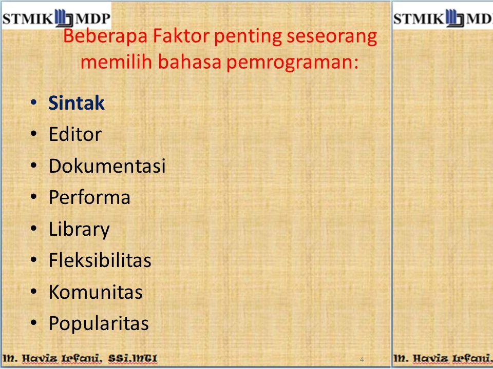 Beberapa Faktor penting seseorang memilih bahasa pemrograman: Sintak Editor Dokumentasi Performa Library Fleksibilitas Komunitas Popularitas 4