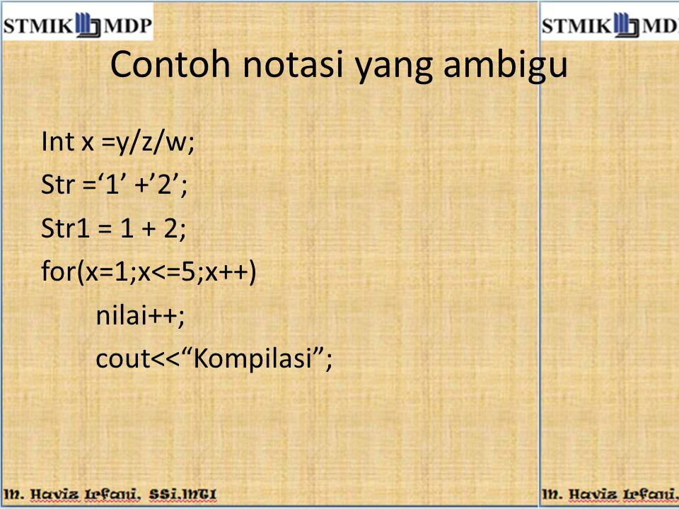 Pengembangan Kuadruple NoOperatorOperandMaksud 1BRibercabang ke kuadruple i 2BZ (Branch if Zero) i,P bercabang ke kuadruple i jika P=0 BPbercabang ke kuadruple i jika P>0 BMbercabang ke kuadruple i jika P<0 BMZbercabang ke kuadruple i jika P≤0