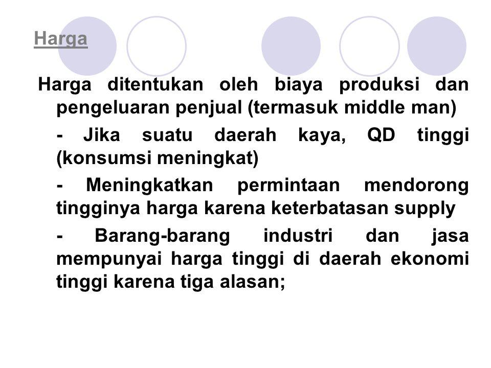 Harga Harga ditentukan oleh biaya produksi dan pengeluaran penjual (termasuk middle man) - Jika suatu daerah kaya, QD tinggi (konsumsi meningkat) - Me
