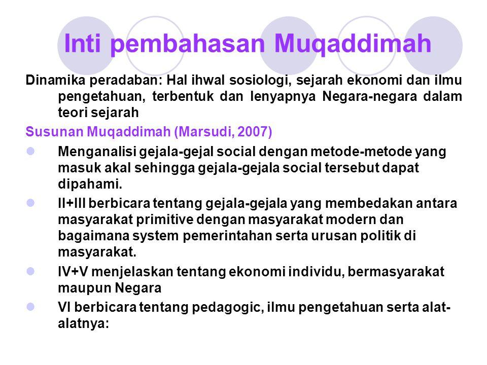 Inti pembahasan Muqaddimah Dinamika peradaban: Hal ihwal sosiologi, sejarah ekonomi dan ilmu pengetahuan, terbentuk dan lenyapnya Negara-negara dalam