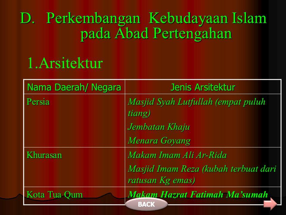 DI MESIR Ketika diperintah Dinasti Mamluk (1250-1517 M) telah muncul para cendekiawan Muslim seperti: BACK NONAMA CENDEKIAWANHASIL KARYA DAN KEAHLIANNYA 1 IBNU ABI USAIBAH Uyun Al-Anba fi Tabaqat Al-Atibba (penyampai informasi dalam tingkatan para dokter) 2 Abu Al-Fida, Ibnu Tagri Badri Atabaki, dan Al-Maqrizi penulis sejarah kedokteran.