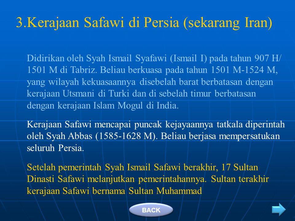 Kerajaan Mogul diperintah secara silih berganti oleh 15 orang raja (sultan). Sultan pertama adalah Zahiruddin Muhammad Babur (1526-1530). Sultan terak